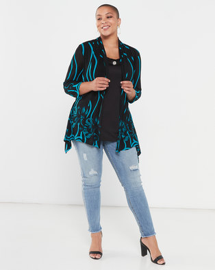 Queenspark Plus Collection Glamour Mesh Knit Top Black