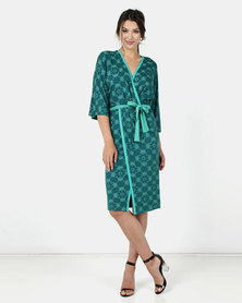 Maya Prass Saffron Mock Wrap Dress Forest