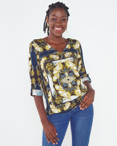 Miss Cassidy By Queenspark Printed Knit Top Blue