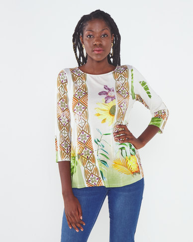 Miss Cassidy By Queenspark Sunflower Printed Knit Top Green