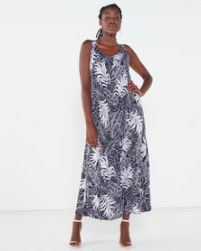 Miss Cassidy By Queenspark Leaf Printed Pop Over Woven Dress Navy