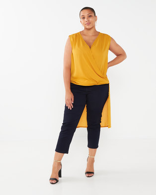 Utopia Plus Drape Front Georgette Top Mustard