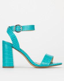 New Look Faux Croc Block Heel Sandals Teal