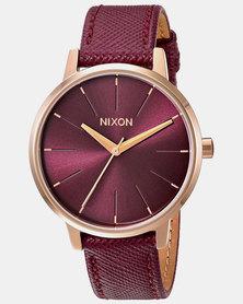 Nixon Kensington Leather Watch Rose Gold / Bordeaux