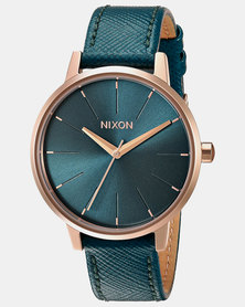 Nixon Kensington Leather Watch Rose Gold /Teal