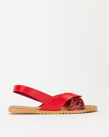 Utopia Wavy Slingback Sandals Red
