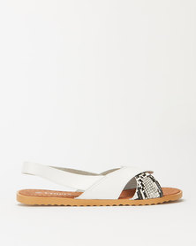 Utopia Wavy Slingback Sandals White