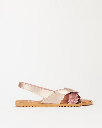 Utopia Wavy Slingback Sandals Rose Gold