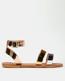 Utopia Multi Metallic Ankle Strap Sandal Rose Gold