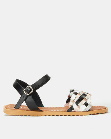 Utopia Multi Weave Ankle Bar Sandals Black