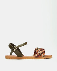 Utopia Multi Weave Ankle Bar Sandals Olive