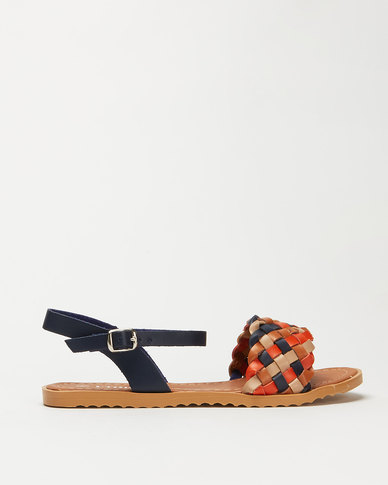 Utopia Multi Weave Ankle Bar Sandals Navy