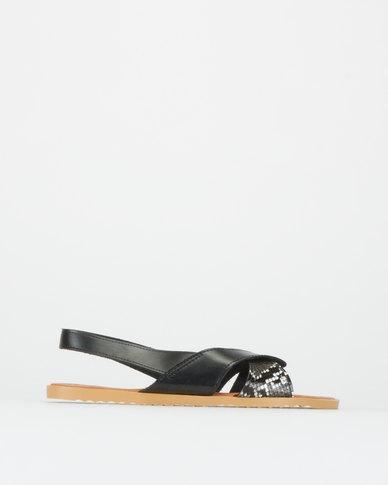 Utopia Wavy Slingback Sandals Black