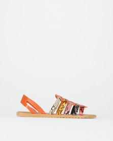 Utopia Multi Snake Strappy Sandals Orange