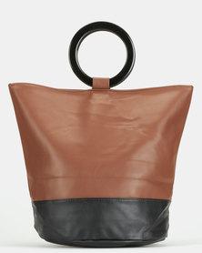 Blackcherry Bag Ring Handle Shopper Bag Brown/Black