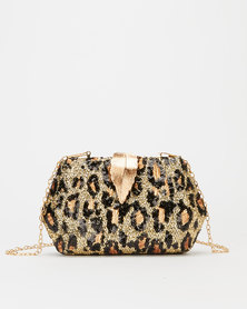 Blackcherry Bag Leopard Sparkle Clutch Bag Brown