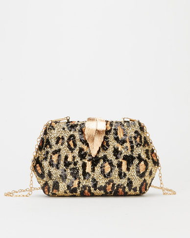 Blackcherry Bag Leopard Sparkle Clutch Bag Brown