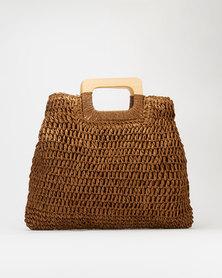 Blackcherry Bag Straw Shopper Bag Choc-Brown