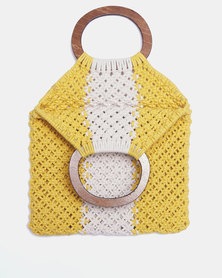 Blackcherry Bag Crochet Shopper Bag Yellow/White