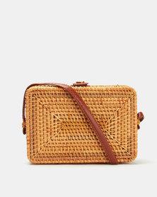 Blackcherry Bag Straw Boxy Crossbody Bag Natural