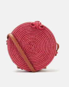 Blackcherry Bag Straw Circle Crossbody Bag Red