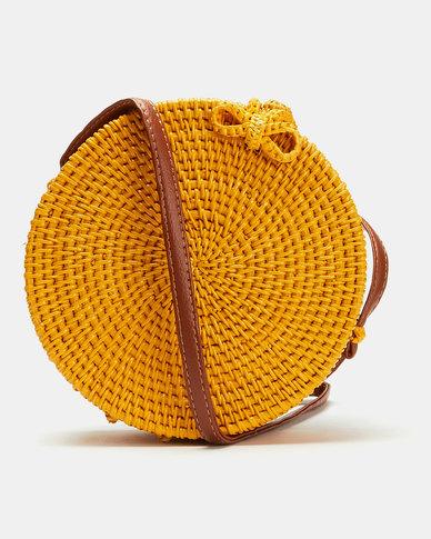 Blackcherry Bag Straw Circle Crossbody Bag Yellow