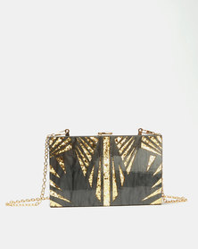 Blackcherry Bag The Tropics Resin Clutch Bag  Black