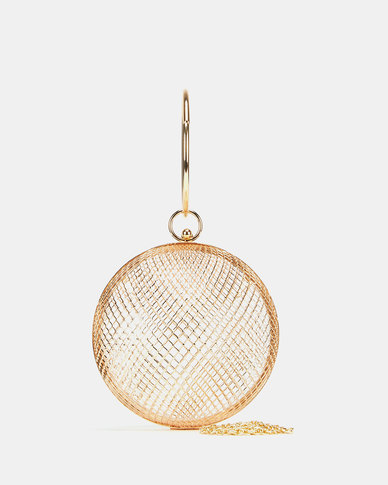 Blackcherry Bag Caged Top Handle Clutch Gold