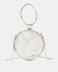 Blackcherry Bag Caged Top Handle Clutch Silver