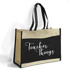 Love & Sparkles Teacher Things Jute Eco Tote Shopper Bag