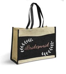 Love & Sparkles Bridesmaid Rose Gold Jute Eco Tote Shopper Bag