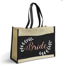 Love & Sparkles Bride Rose Gold Jute Eco Tote Shopper Bag