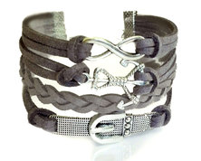Urban Charm Belt and Anchor Infinity Bracelet Charcoal Grey