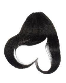 Blkt Clip in Bangs Full Fringe Real Human Hair Short Straight Hair Extensions Black #1