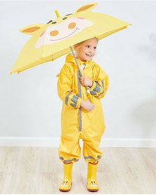 Iconix Kids One Piece Animal Raincoat - Yellow Giraffe