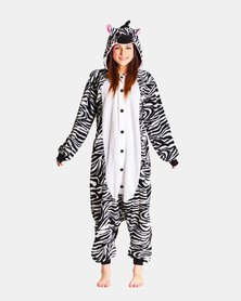 Iconix Zebra Styled Onesie for Adults