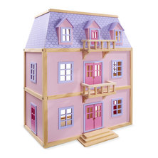 Melissa and Doug Multi-Level Solid Wood Pink Dollhouse