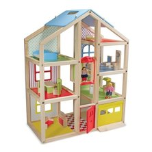Melissa and Doug Hi-Rise Wooden Dollhouse and Furniture Set