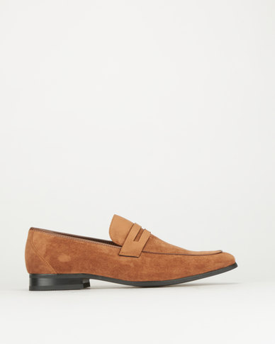 Gino Paoli Suede Formal Slip Ons Tan