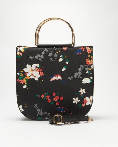 Utopia Print Handbag Black