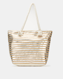 Utopia Foil Stripe Beach Bag Silver