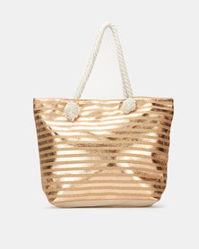 Utopia Foil Stripe Beach Bag Gold