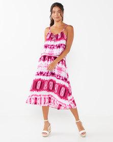 Lila Rose Tie Dye Long Grecian Dress Pink