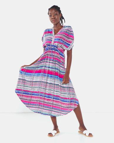 Lila Rose Scarf Print Long Jenny Dress Multi