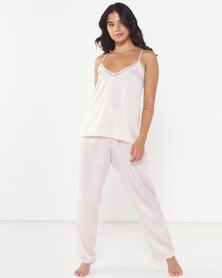 Lila Rose Faux Silk Woven Cami + Long Pant PJ Set Blush