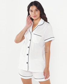 Lila Rose Trim Cotton Short Sleeve Short Set Milk + Black