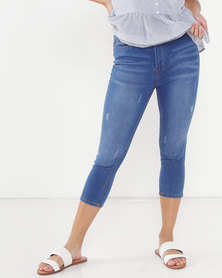 Utopia Basic Mid Wash Cropped Jeans Blue
