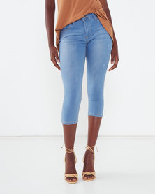 Utopia Basic Light Wash Cropped Jeans Blue