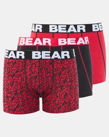 Bear 3Pk Bear Electric Print Bodyshorts Red