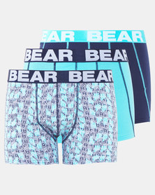 Bear 3Pk Bear Font Print Bodyshorts Navy/Turquoise